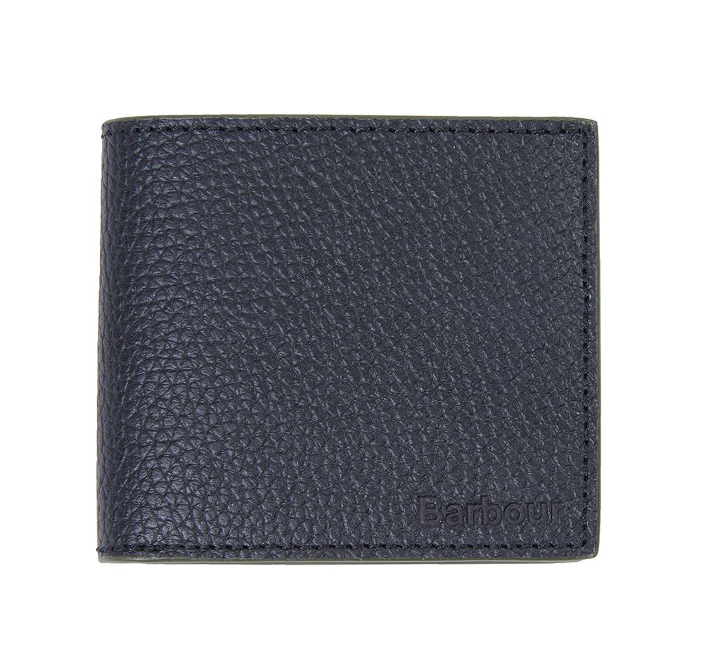 Barbour Grain Leather Billfold Coin Wallet